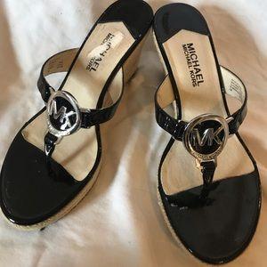Michael Kors Black Patent Leather Wedges